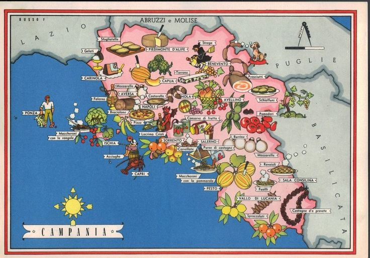 Geographical map of the Italian region of Campania with indication of the culinary delights
