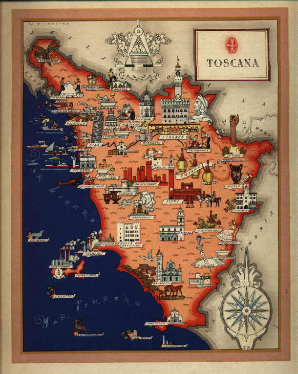 map of the Italian region of Tuscany with indication of cities and wine regions